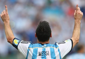 PORTO ALEGRE, BRAZIL - JUNE 25:  Lionel Messi of Argentina celebrates scoring his team's second goal and his second of the game during the 2014 FIFA World Cup Brazil Group F match between Nigeria and Argentina at Estadio Beira-Rio on June 25, 2014 in Porto Alegre, Brazil.  (Photo by Ian Walton/Getty Images)