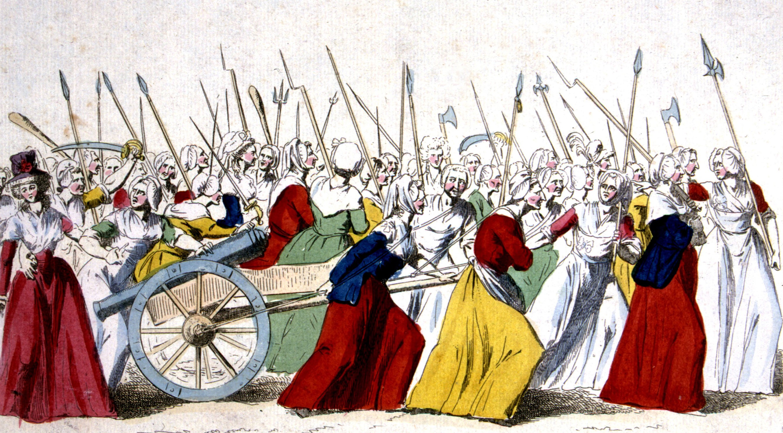 March of insurgent women in Versailles, October 5, 1789, France, French Revolution of 1789Paris, Bibliotheque Nationale. (Photo by Photo12/UIG/Getty Images)