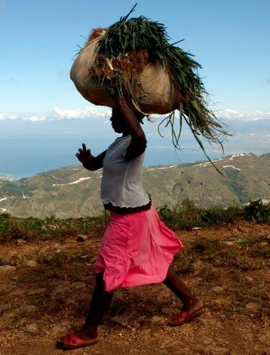 A woman carries a bundle on her head near Chauffard, Haiti, Tuesday, Oct. 27, 2009. (AP Photo/Ramon Espinosa)