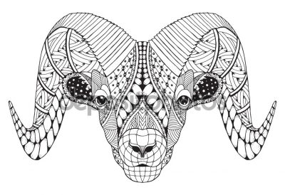 Male rocky mountain bighorn sheep ram standing zentangle stylize